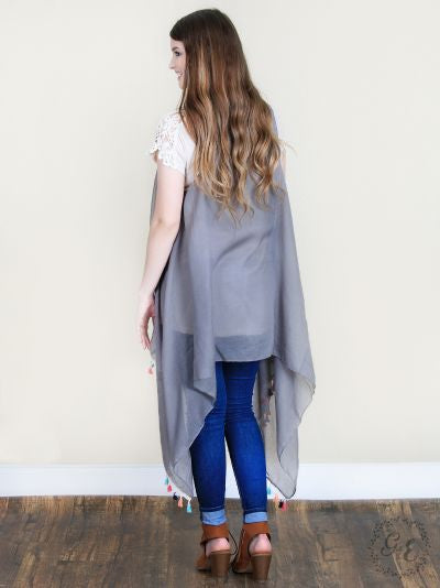 Gray Vest with Multi Colored Tassels
