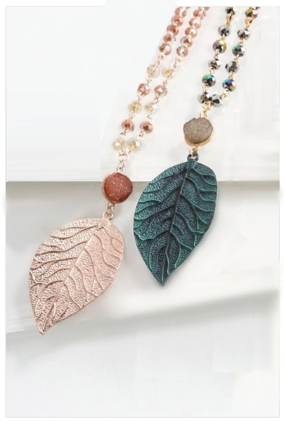 Beaded Druzy & Leaf Necklace