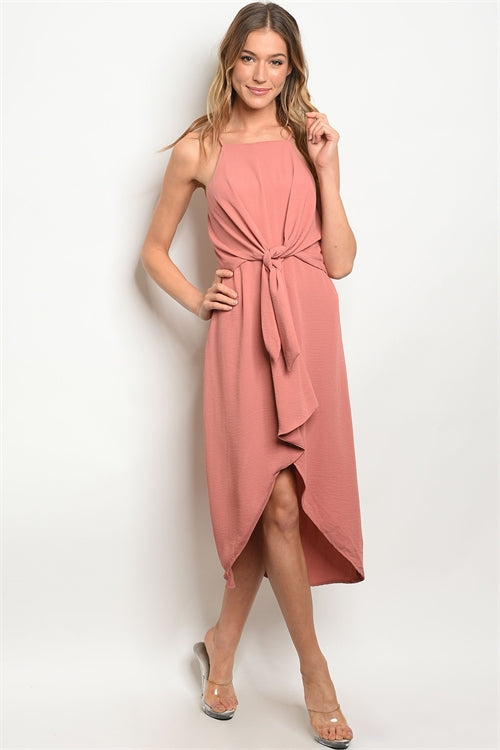 Tie Front High Low Dress