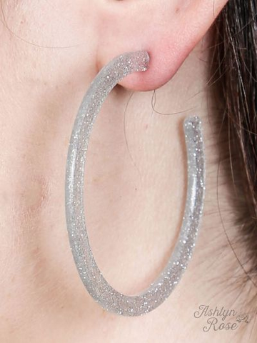 Glitter Acrylic Hoop Earrings