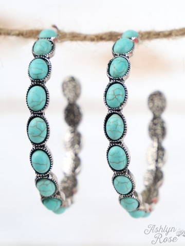 Large Turquoise Hoop Earrings
