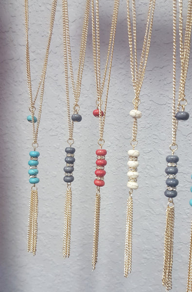 Stone Drops Tassel Necklace