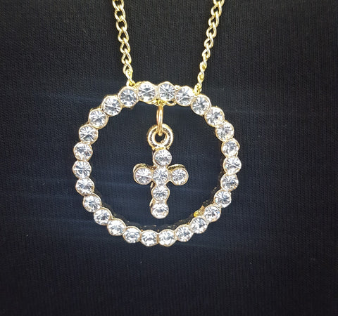 LAST CALL - CZ Circled Cross - Gold