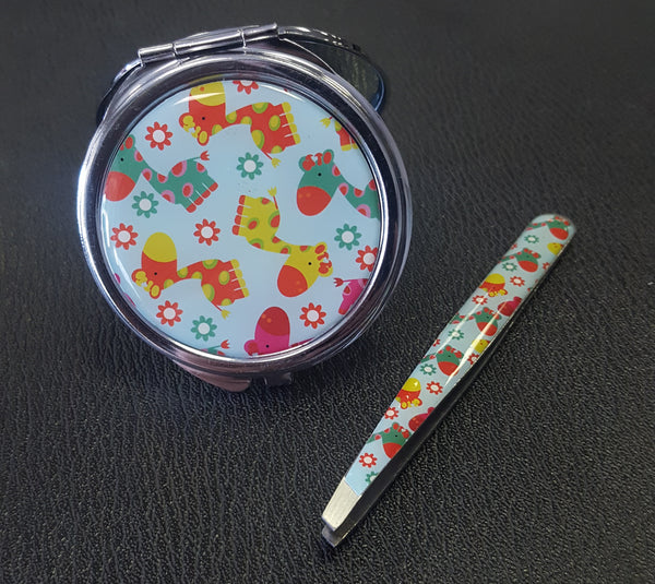 Compact Mirror & Tweezers Set