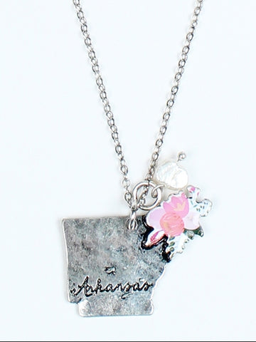 Floral Arkansas and Pearl Necklace