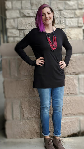 Long Sleeve Tunic by Piko - Black