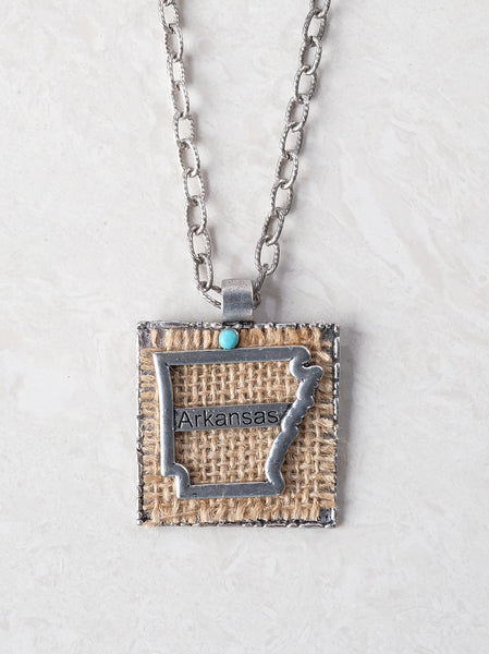 Burlap Arkansas Necklace with Turquoise Accent