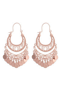 Rose Gold Filigree Disc Drop Earrings