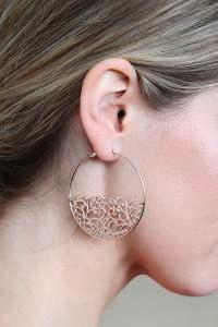 Rose Gold Filigree Hoop Earrings