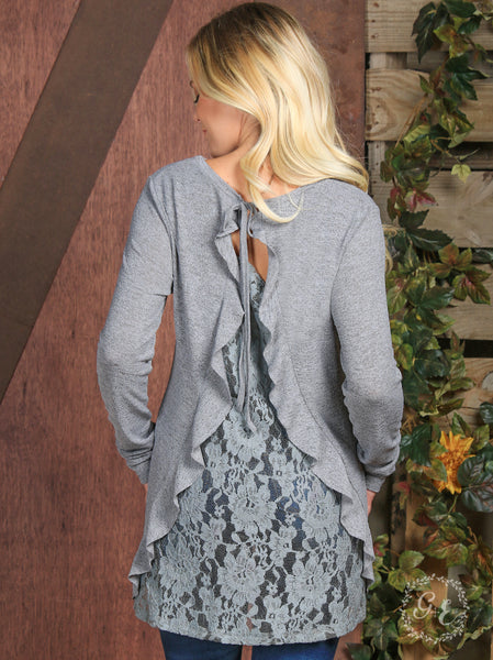 Julia's Ruffled Lace Back Sweater