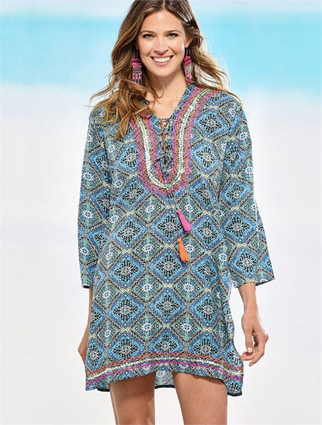 Lace Up Print Tunic
