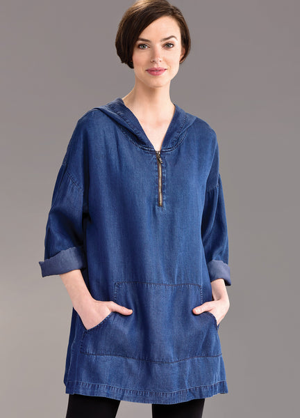 Hooded Denim Poncho