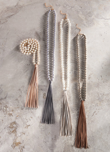 Pearls & Suede Tassel Necklace
