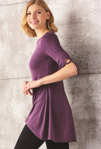 LAST CALL - A Line Tunic with Sleeve Detail - L/XL Black