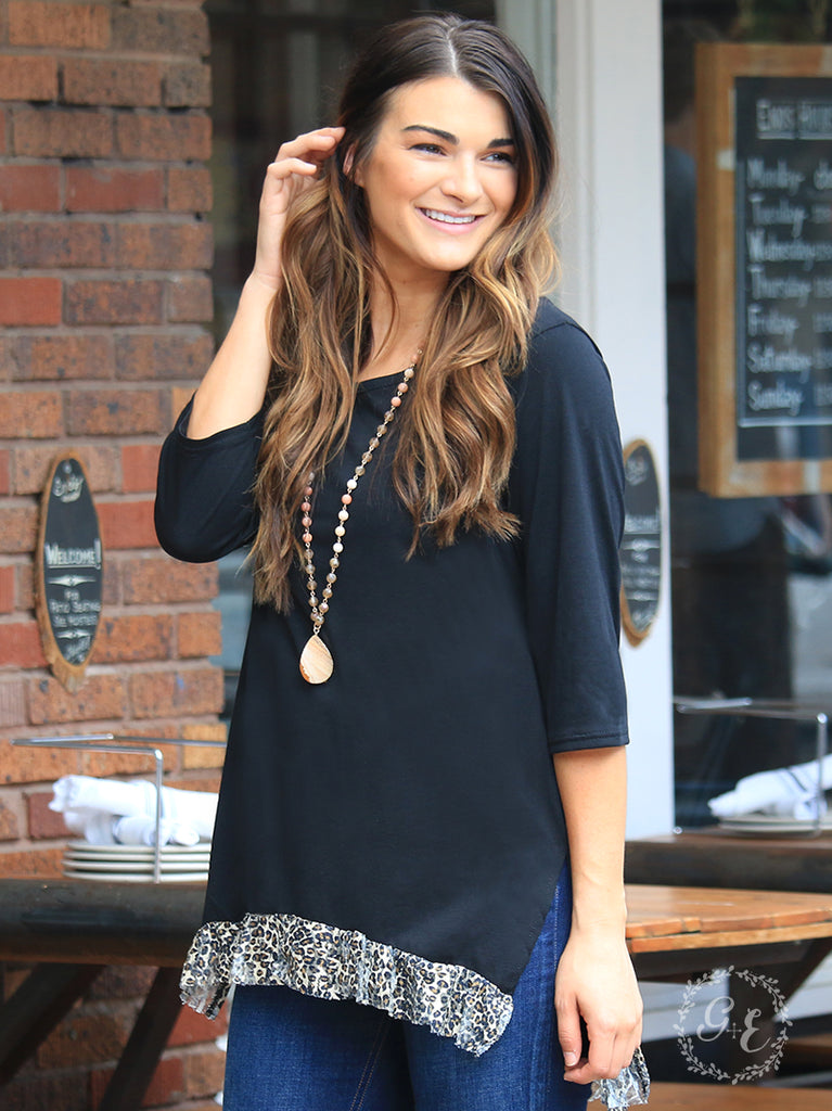 Cheetah Lace Trim Tunic