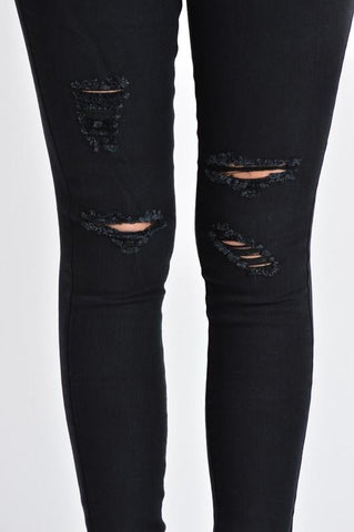 Black Distressed Skinnies
