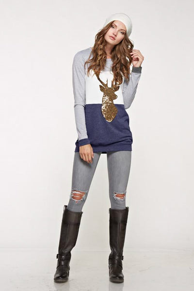 Color Block Sequin Reindeer Top