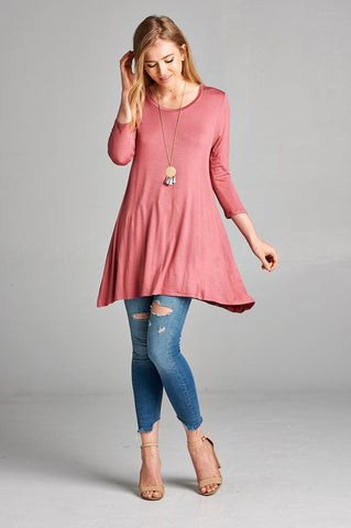 3/4 Sleeve Round Neck Tunic - Mauve Rose