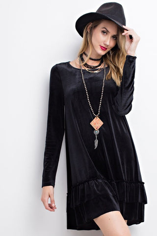 Ruffled Velvet Swing Dress - Last Call