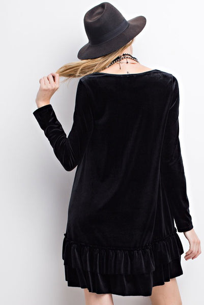 LongSleeve Velvet Ruffle Bottom Dress