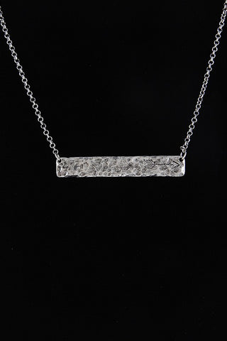 Arrow on Hammered Bar Necklace