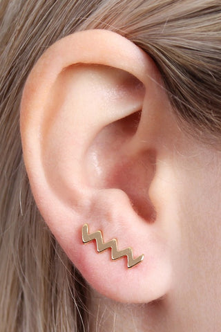 Zig Zag Crawler Earrings