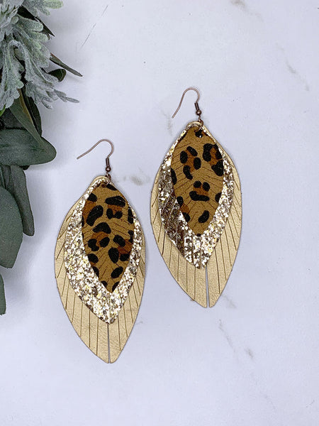 Tiered Fringe Leopard Leaf Earrings