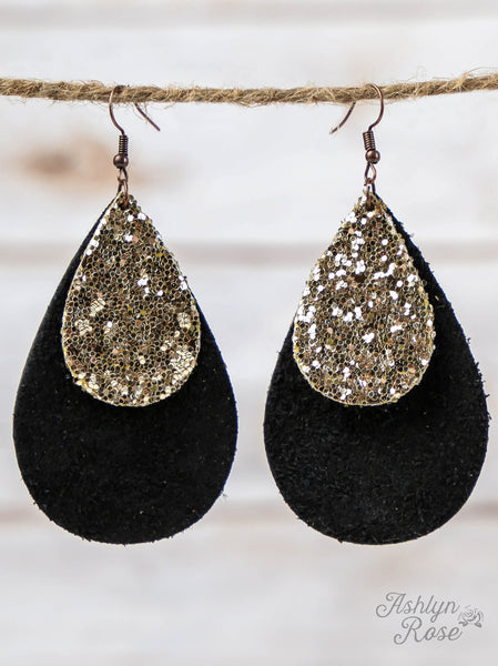 Black Leather & Gold Glitter Earrings