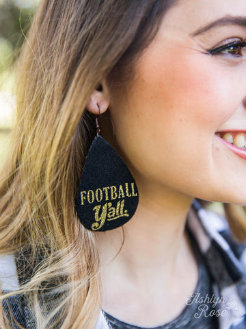 Football Y'all Suede Earrings - Black