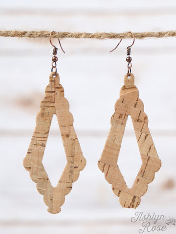 Diamond Cut Out Cork Earrings