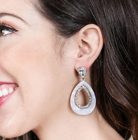Mother of Pearl CZ Earrings