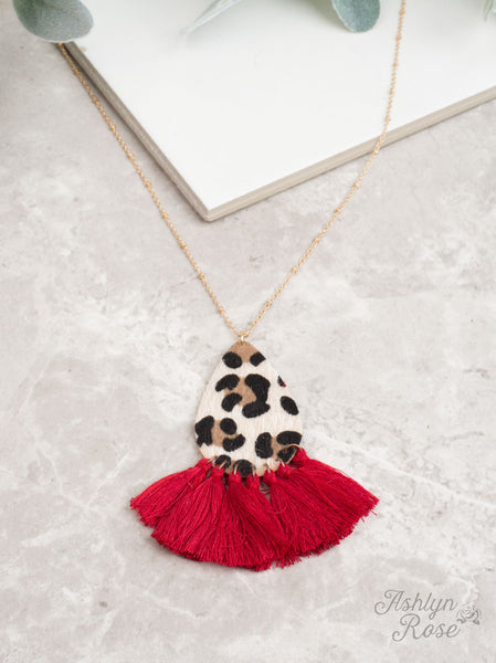 Full Leopard Teardrop Necklace with Fringe