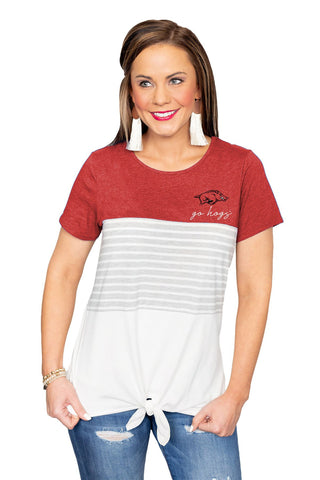 Why Knot? Color Block Razorbacks Top
