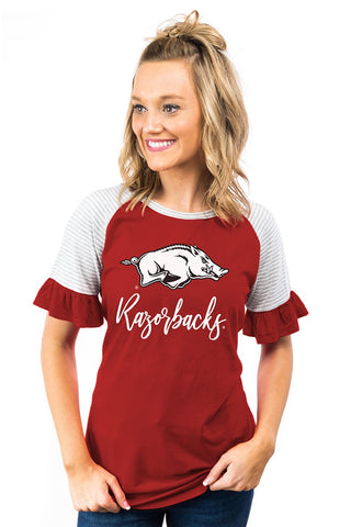 Down the Line - Ruffle Sleeve Razorbacks Top