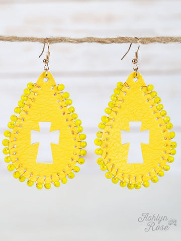 Leather Cut Out Cross Earrings