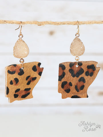 Druzy Drop Cheetah Arkansas Earrings