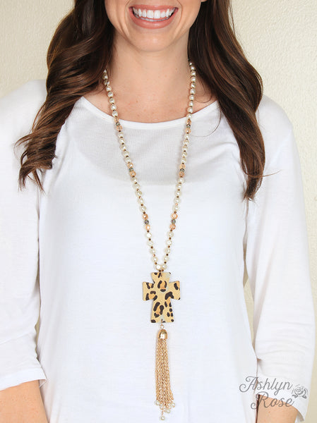 Pearls & Cheetah Cross Necklace