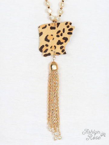 Pearls & Cheetah Arkansas Necklace