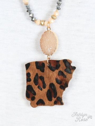 Arkansas Druzy Leopard Necklace
