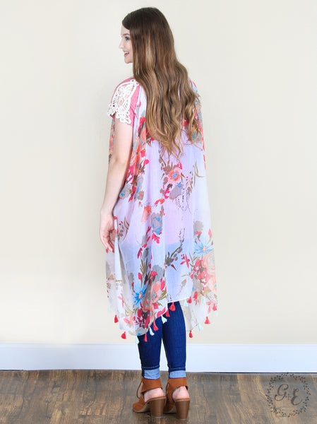 Floral Vest with Tassels