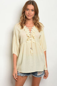 Ivory Ruffled Lace Up Top