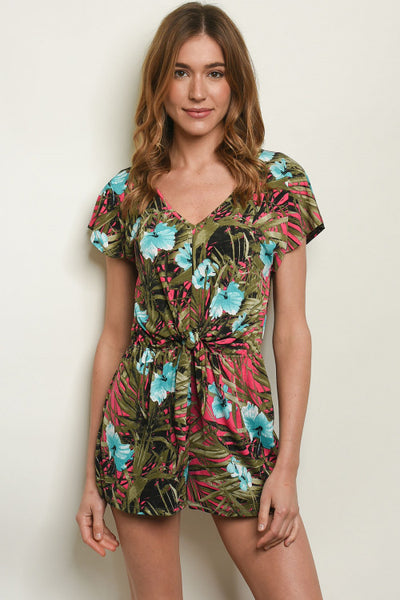 Tropical Romper with Knot Detail