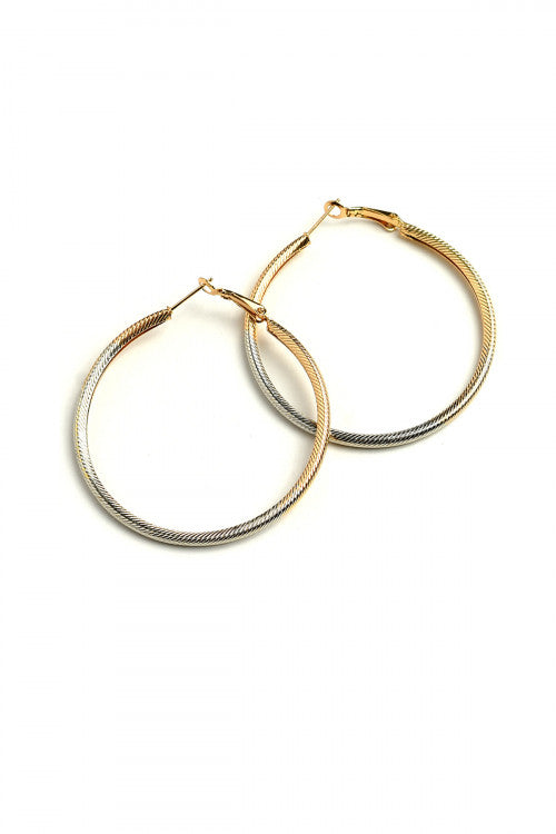2 Tone Hoop Earrings