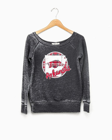 LAST CALL - Plaid Circle State Acid Washed Sweatshirt