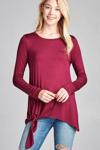 LAST CALL - Tie the Side Top - Burgundy Small