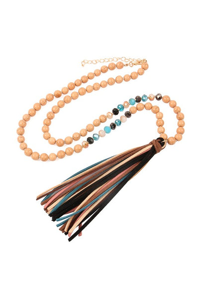 Colorful Leather Tassel Necklace