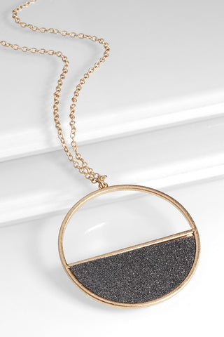 Glitter Semi Circle Long Necklace - LAST CALL