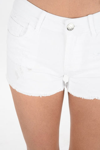 LAST CALL - White Distressed Shorts - Size S