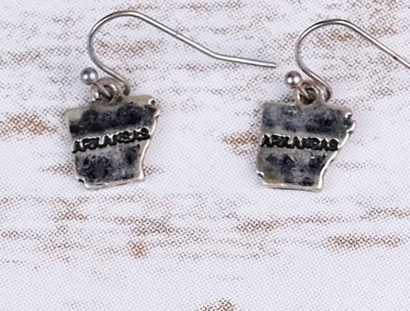 Small Arkansas Dangle Earring with Script