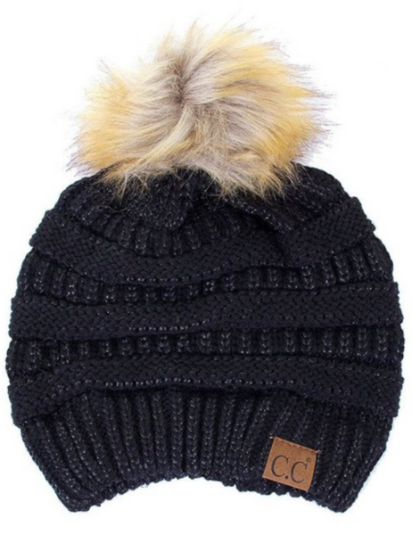 Metallic CC Beanie with Fur Pom